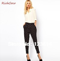 New 2013 Pants Women Dots Thin Fabric Lightweight Mid-Waist Harem Pants Autumn -Summer Leggings Cotton Pant Free Shipping D058