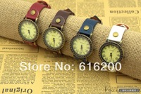 Miler  Retro 12 Roman Numbers Hour Marks Round Dial Watch Leather Band Men's Watch