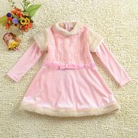 Free shipping!2013 retail winter christmas fashion brand girls princess dress,kids party dress,hot sale fall dresses(pink/white)