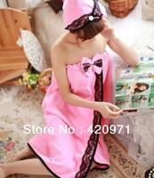 Sales promotion !! Superfine fiber women bath towel and hat High-grade sexy Bath skirt super soft bathrobe Free shipping