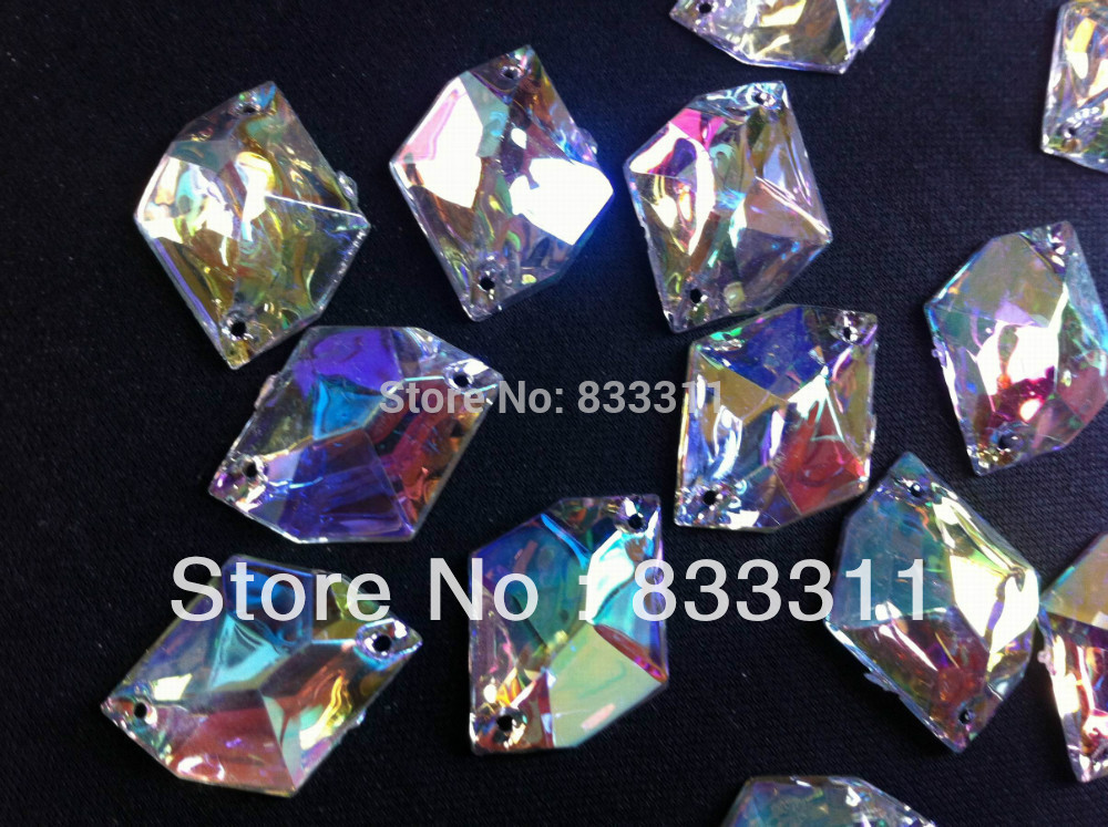 Big promotion 17x21mm Acrylic 150pcs Sew on Crystals Crazy Dazzling AB Color Cosmic Rhinestones YYY-SB-1721 Accessories Stones(China (Mainland))