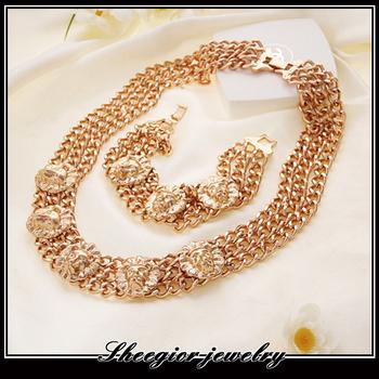 Gold jewelry Necklace Bracelet set with Lion head chunky chains alloy Necklace bracelet set 1314 jewelry wholesale