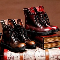 Autumn winter new arrival fashion skull punk genuine leather women's motorcycle boots vintage rivets martin boots for woman