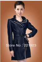 2013 autumn and winter leather coat - female leather lace and long sections Slim coat jacket -- dark blue / light blue / black