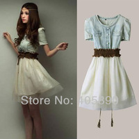 2013 New Retro Cowboy Net Yarn Stitching Dress With Belt