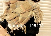2pcs/lot 2014 New autum winter 200x65cm Multicolor Scarves Long Large Warm Wool Blends Soft Wrap Scarf Shawl Tassels Hijab