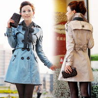 Free Shipping Guaranteed 100% 2015 Korean Fashion Women Cotton Trench Coat Plus Size Outerwear Double Breasted Casual Clothing