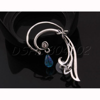 Retro Punk Rock Snake Wrap Dangling Bead Earring Left Ear Sky Blue Rhinestone