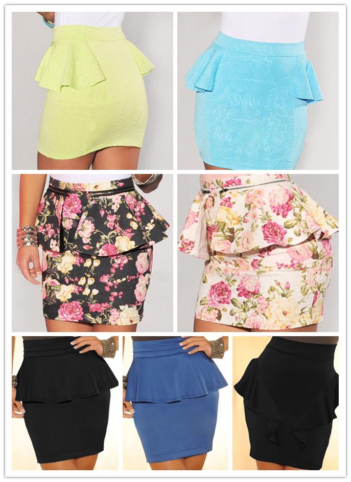 Removable peplum accent Ivory Multi-Color Floral Print Peplum Skirt women Pencil Mini Skirt saia skirt skirts womens new 2014(China (Mainland))