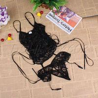 Black Sexy Lady lingerie bridal Lace belted Corset top+Garter belt+G-string