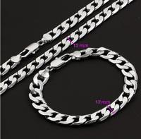 Platinum Gold Plated Men Necklace and Bracelet Set 600*12 mm and 200*12 mm