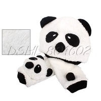 1 Set Warm Infant Unisex Panda Cartoon Girl Boy Baby Hat Cap Beanie Scarf White DSHL