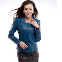 L-XL-2XL-3XL-4XL-5XL,Casual Short Coat Women, Design Short Slim Stand Collar Leather Clothing PU Outerwear .Free Shipping!