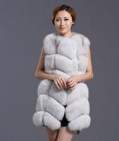2014 Luxury Ladies' Genuine Silver Fox Fur Vest Waistcoat Female Gilet Winter Women Fur Outerwear Coat Jacket VK1008