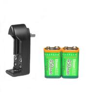 2 pcs 9v  350mAh Ni-MH Rechargeable 9 Volt Battery + 9v Ni-MH battery charger
