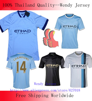 A+++ Men 2014 New Thai Manchester City Away Black 13 14 Kun Aguero Soccer Jersey Football Kit Thailand Player Version Shirt