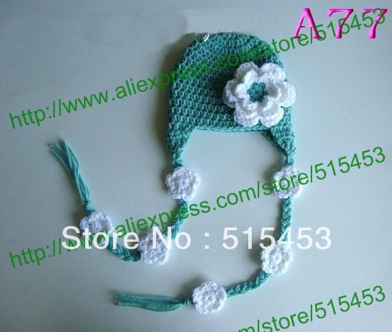 free shipping, 120piece/lot Cute Newborn Baby Crochet Knit Green / White Christmas Beanie Hat Girl New Gift Photography(China (Mainland))