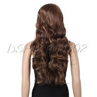 Soft Light-brown Womens Girls Sexy Long Fashion Full Wavy fluffy Hair Wig DSHL