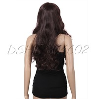 Hot sale Soft Dark Brown Womens Girls Sexy Long Fashion Full Wavy Hair Wig DSHL