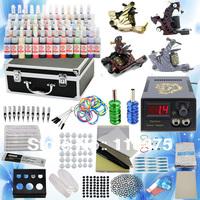 Freeship from USA warehouse Complete Tattoo 4 Machine Guns Power Supplies Needles 54 inks Needles Tips equipment Kit Supply K103