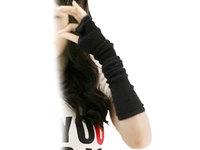 2014 NEW Black fingerless Long glove mitten gloves gril women's braided knit Arm/Leg Leisure warmer