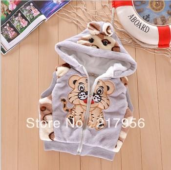 Thicken !!!!!! New 2013 autumn -summer winter kids' boy girl children outwear waistcoat kids tiger fur vest baby clothing
