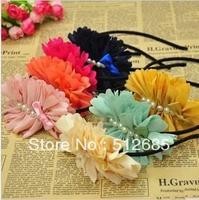 {Min.Order $15}10pcs/Lot 2013 New Kids/Girl/Princess/Baby Flower  Immitation pearl Hair Band/Tiaras/Hair Accessories Color Mixed