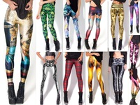 2013 Women Sexy vintage Egypt Pharaoh King Tut Cheshire Cat Mechanical Bones White Black Aurora Skye Orange Leggings HOT Sale