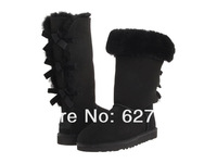 Free Shipping Womens 3388 Bailey Bow Tall U Label Australia Snow Boots 100% Real Sheepskin with natural wool Black, Size US5-10