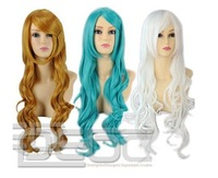 FREE SHIPPING Fashion Girl Party Cosplay Sexy Green Blue White Long WavyCurly Hair Full Wig