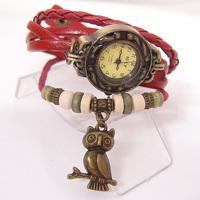 Genuine Cow Leather wrist watch women ladies men fashion vintage OWL tag wristwatches KOW047