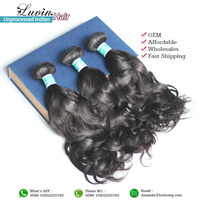 Luvin Hair Products Indian Remy Virgin Hair Weaves 4Pcs/Lot 100% Human Hair Natural Wavy Shipping Free