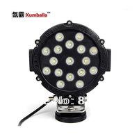 2pcs 6'' 51W LED off road light car headlight  51w LED work light flood/pencil beam balck/ red color round shape as fog light