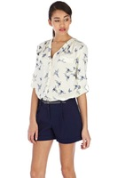 Hotting sell 2014 new European and American Fan casual V-neck bird butterfly print shirt free shipping