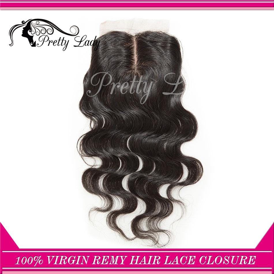 center parting Brazilian Virgin Remy body wavy hair silk base closure/ natural Hair free shipping(China (Mainland))