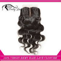 center parting Brazilian Virgin Remy body wavy  hair silk base closure/ natural Hair  free shipping