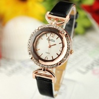 Holiday sale high quality Gogoey crystal rhinestone leather watch women ladies dress fashion quartz wrist watch go020