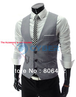 2014 New Arrival! Men Suit Vest Slim Dress Vests Men's Fitted Leisure Waistcoat Casual Business Jacket Tops Three Buttons 18191