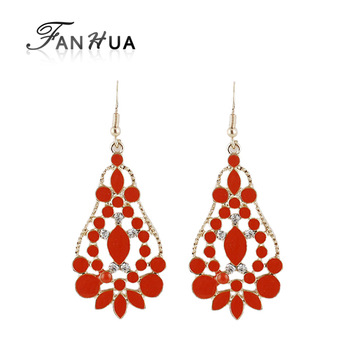 Colorful Water Drop Enamel Big Dangle Statement Earrings Fashionable Gold Color Alloy Wholesale New Arrival Elegne