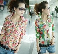 New Women Lady Button Down T Shirt Casual Flower Shirt Blouse Short Sleeve Tops