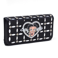 Classic 2013 Betty Boop Designer Cheap Genuine Leather High Quality Zip Around Tough Wallet Girls Purse for Women with Studded