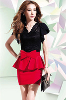 Free Shipping New Sunlun Korean Elegant One-piece Bandage Dress Sexy Fashion Deep V Neck Lace Dresses With Bow Waistband
