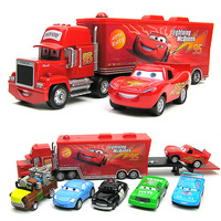 "1set=7pcs Pixar Car Alloy & Plastic Mack + Samll Red Car Toy + Mater + Sheriff Cars+ Sally + Chick Hicks ""Mack"" truck Toy Car"
