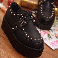 2013 fashion loafers ladies designer wedge creepers platform shoes lace up sneakers women casual black white size 35-39