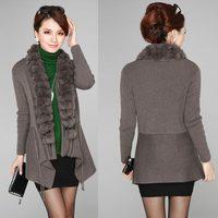 2013 New Korean Fashion Wool Rabbit Fur Collar Style Women's Casual Loose Sweater Knitwear Long and Short Sleeve Cardigan A335