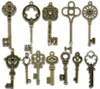 Mixed Antique Bronze Key Charms Pendants 33x13mm-69x20mm, sold per lot of 24(B13922)8seasons