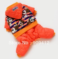 Free Shipping Sweet Puppy Pet Winter Four legs Suit  Warm Dog Hoodie  Dog  Clothes Exquisite Workmanship Orange