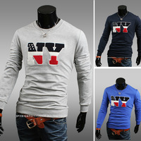 2013 Free Shipping New Men T Shirt Casual Slim Fit Stylish Long Sleeve Shirt Primer Shirt Round Neck Letters NY 3 Colors 4 Sizes