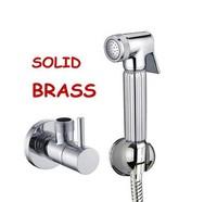 Chromed Brass hand shower head kit, with hose, hook, angle valve, for shower and bidet  ww128