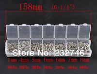 1 Box Mixed  Open Jump Rings 3mm-8mm(1500 PCs Assorted) (B08914)8seasons